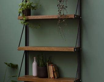 KONK! Wall Mounted Oak Bookcase shelving INDUSTRIAL [Bespoke sizes!] Rustic Vintage Reclaimed