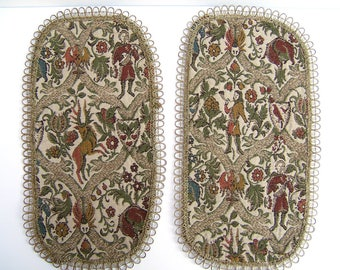 Vintage Brocade Tapestry Table Runners | Oval Placemats Antique Textile  Doilies | Deer U0026 Musicians Metallic