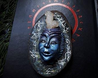 Blue Crystal Spirit Idol /Crystal Statue/Crystal Art/Handmade/Unique/Pagan/Heathen/Altar/Decour