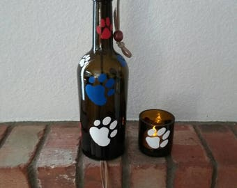 Wine bottle wind chime, Patriotic yard art, Dog lover windchime with matching candle holder, Glass garden decor with red white and blue paws
