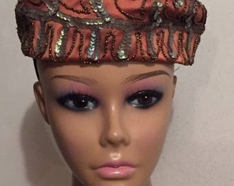 Vintage Hat Womens Hat Pill Box Style Rust Iridescent Sequins Gold Beads Union Made