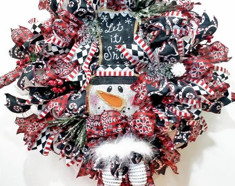 Let It Snow Christmas Snowman Wreath, Fur and Bow Rhinestone Mittens, Top Hat, Deco Snow Mesh, Berries, Pine, Winter, Scarf, Snowballs, Red