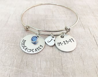 Gift for Bride From Groom - Wedding Date Bracelet - Gift for Bride - Bridal Shower Gift