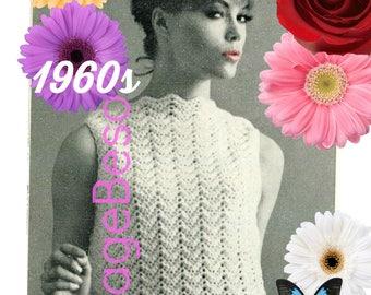 INSTANT DOWNlOAD • PdF Pattern • Easy Top CROCHET Pattern • Another Ripple Shell • 1960s Crochet Pattern • Digital • Zigzag Chevron Top
