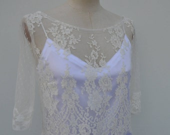 Top Bridal lace, ivory lace blouse, top cover-up lace flowers, wedding lace white wedding, ivory wedding top 3/4 sleeves