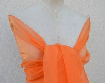 Orange organza bridal shawl, stole, shawl, orange wedding orange bridesmaid wedding, evening, cocktail orange shawl, stole orange