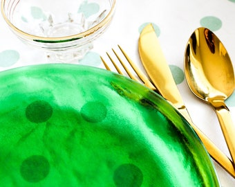 Emerald green glass dinner plates, vintage glass set of 2 plates