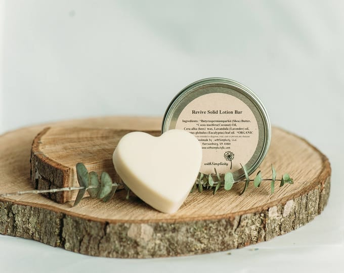 Lotion Bar, ORGANIC Ingredients, Solid with lavender and eucalyptus essential oils