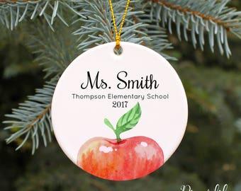 Teacher Gift Personalized Teacher Ornament Christmas Ornaments Teacher Christmas Gift Idea Porcelain Keepsake Ornament Apple Ornament