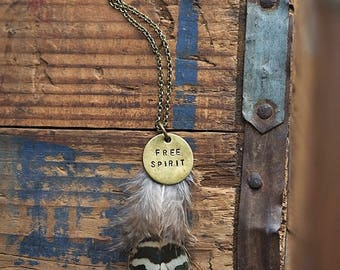 Free Spirit Real Feather Necklace | Boho Brass Pendant Festival Jewelry Cruelty Free Hand-Stamped Gifts for Her