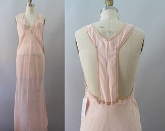 1930s Nightgown / Vintage 30s Rayon Nightgown / S M