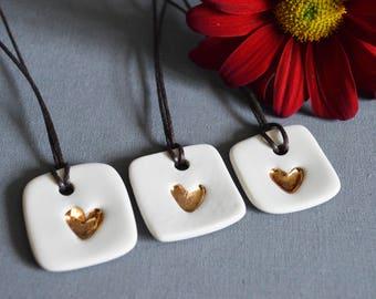 Ceramic Gold Heart Tags (Set of 3)- Ceramic, Valentines ( Handmade, Porcelain, Valentines, Gold, Heart Tags, Love)