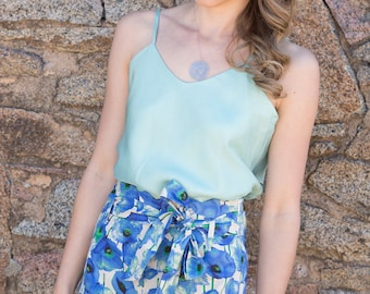 SALE 100% Linen Blue Poppy Print Ladies Shorts, Limited Edition, Summer Collection. Australian Made