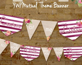 LDS 2018 Young Women YW Mutual Theme Printable Banner Burlap Learn of Me