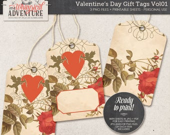 Romantic Gift Tags, Printable, Instant Download, Digital Collage Sheet, DIY Gift For Her, Gift For Him, Valentines Day, Angels, Hearts