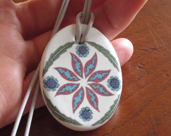 Ottoman Inspired Flower and Leaf Pattern Oval Ceramic Pendant on Light Grey Cord with Lobster Clasp and Extender Chain
