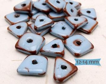 Thin Freeform Enamel Glazed Ceramic Beads Southwest Colors--10 Pcs.   38-SW200-10