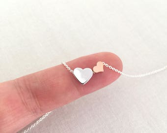 Mother Daughter Necklace, Mother Necklace, Big Sister, Little Sister, Rose Gold Heart, Adoption Gift, Mother Jewelry, Wedding Gift