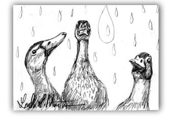 Baby Nursery 3 Duckies New Mom Spring Original Drawing llmartin ACEO  Collectible Free Shipping USA