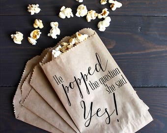 He Popped The Question, Engagement Party Favor Wedding Favor Bags, Popcorn Favor, Favor Bags - Kraft Paper Bags