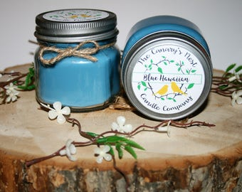 Blue Hawaiian Scented Candle | Soy Candles, Mason Jar Candles, Tropical Scented Candles, Summer Candles, Candles for Sister, Best Gifts