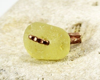 Yellow Sea Glass Ring Sea Glass Jewelry Summer Outfit Nature Lover Gift Beach Glass Ring Beach Glass Jewelry