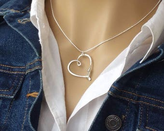 ring holder necklace wedding engagement ring holder pendant heart clasp ring holder pendant - Wedding Ring Necklace Holder