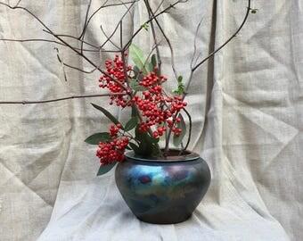"Art Studio Raku Pottery Bowl Vase Signed Iridescent glaze 6 1/2"" tall"