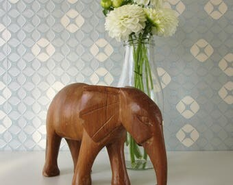 Vintage Wooden Elephant Figurine 17165