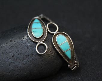 Sterling Silver Native American Turquoise Watch Tips, Turquoise Inlay Watch Tips, Navajo Turquoise Watch, Sterling Turquoise Watch
