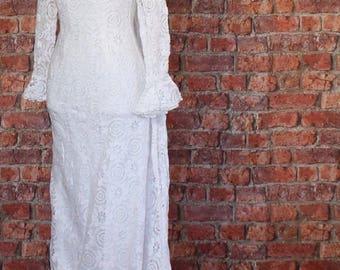 Genuine Vintage Wedding Dress Gown 50s 60s Retro Victorian Edwardian Style Lace Train UK 8...US 4