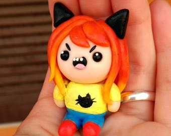 Custom Figure Commision Adventure Time  hugged Lovely Friends Keychain or NEcklace