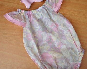 Baby girl romper, sheer pastel cotton, size 000