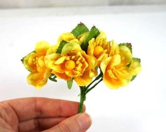 6 Yellow Craft Flowers Silk Flowers Artificial Flowers Fake Flowers Decorative Flowers Scrapbooking Wreath Flowers Bouquet Flowers