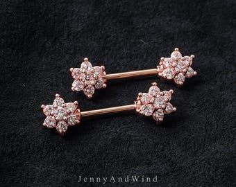 nipple ring 14g nipple jewelry nipple barbell rose gold silver flower 1 piece ~2N03