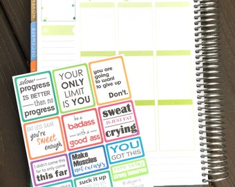 Fitness/Healthy Diet Motivation Quote Planner Stickers
