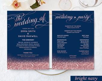 "Navy Wedding Decor Rose Gold Wedding Fan Program Printable Wedding Ceremony Program Navy Blush Wedding Program DIGITAL DOWNLOAD 5x7"""