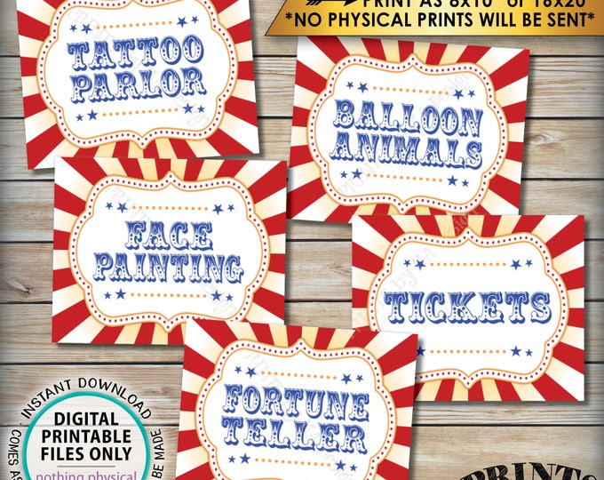 "Carnival Activities, Carnival Theme Party, Carnival Games, Circus Theme, Balloons, Face Painting, PRINTABLE 8x10/16x20"" Instant Downloads"