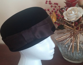 Vintage Black Velvet with Grosgrain Ribbon Toque Hat by Irene of New York