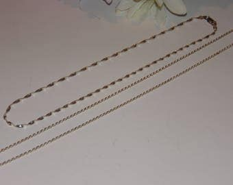2 Sterling Silver Necklaces Chains 925 Lot of 2 Necklaces Jewelry Fancy