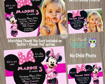 Minnie Mouse Invitation, Minnie Mouse Birthday, Minnie Mouse Party, Minnie Mouse, Disney Invitation, Minnie Mouse Pink
