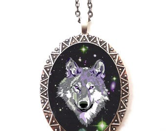 Space Wolf Necklace Pendant Trippy - Psychedelic Festival Fashion - Cosmic Outerspace Spirit Animal