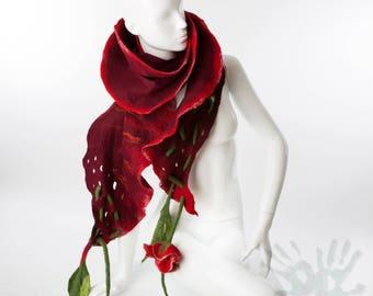 Nuno felted burgundy color scarf, Nuno felting, Rose scarf, Handmade felted shawl, Merino wool, Wool Scarf,Made to order, Free shipping.