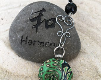 Polymer Clay Necklace, Green and Black in perfect Harmony