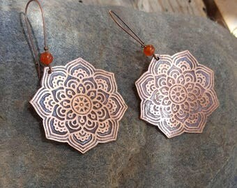Rustic zen earrings, mandala, Oriental, copper rose engraved hand made, natural orange carnelian bead