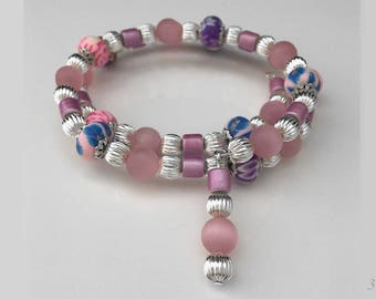 Small Women's Pink Beaded Bracelet,Silver and Pink Bracelet,Wire Wrap Bracelet,Pink Bracelet,Pink Jewelry,Bracelet Pink,Memory Wire Bracelet