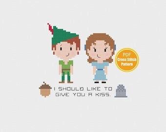 Peter Pan Cross stitch Pattern - Peter and Wendy - Acorn Thimble - Disney Cross stitch - PDF Instant Download
