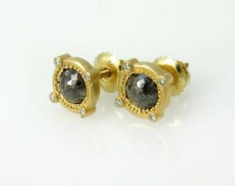 Gold diamond earrings, Unique gold earrings, Diamond stud earrings, Rose cut diamond earrings, 18k gold earrings, Matte gold earrings