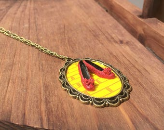 Wizard of oz miniature ruby slippers and handmade necklace. Yellow brick road fantasy, fairytale, whimsical, folk tail wearable art.