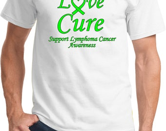 Men's Hope Love Cure Support Lymphoma Cancer Awareness Tee T-Shirt HLC-SLYCA-PC61